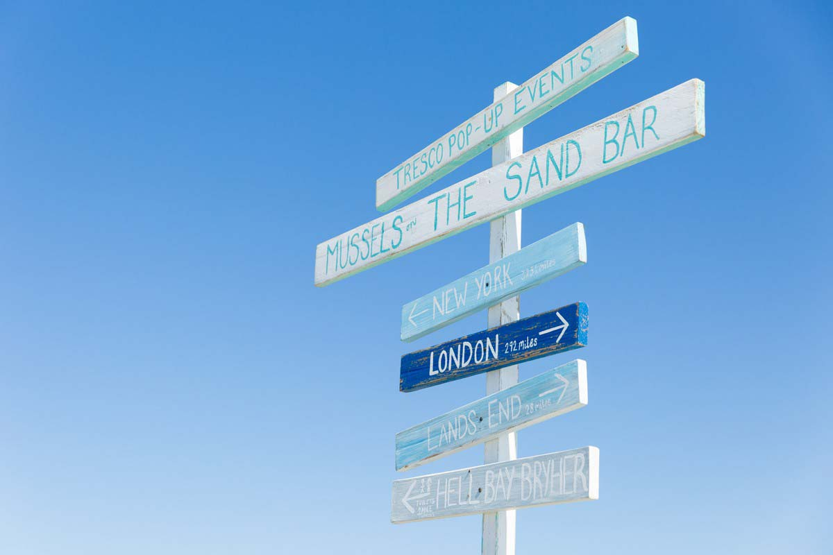 commercial photographer cornwall london signpost tresco